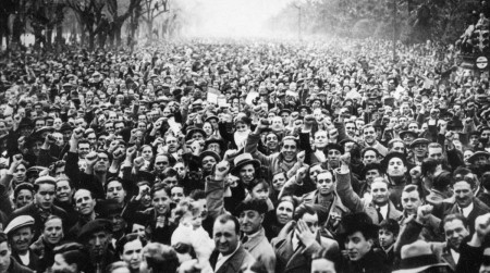 Picture dated1936 showing thousands of Republicans demonstrating in the streets of Madrid against Franco s attempt to overthrow the Spanish Republic Spain marked 70 years since the outbreak of the Spanish Civil War 18 July 2006 as opinion polls acknowledged divisions still run deep over the legacy of a conflict which left half a million dead Traditionally since General Francisco Franco s Nationalist forces triumphed and disbanded the elected institutions of the Second Republic replacing them with a military dictatorship Spaniards have marked the date in low-key fashion maintaining a so-called pact of silence AFP PHOTO